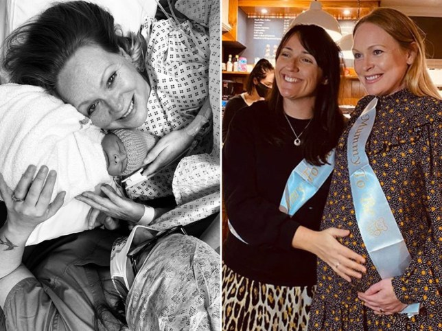 Michelle Hardwick with her newborn son next to a picture of MIchelle with her wife kate.