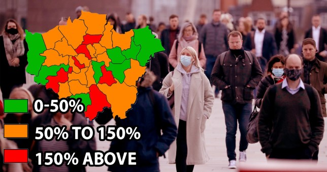 Photograph of Londonders with a map of different borough infection rates imposed onto it