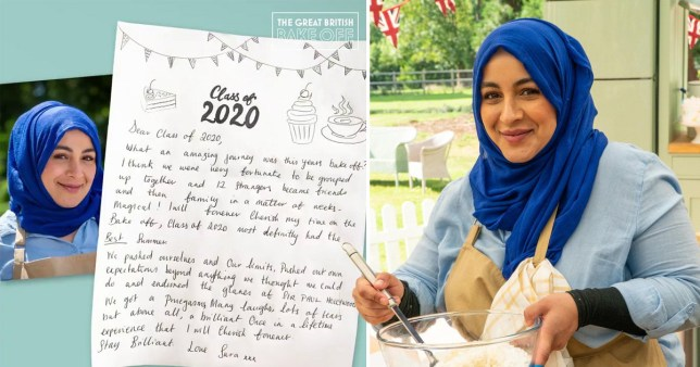 sura bake off goodbye letter