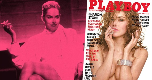 Sharon Stone in Basic Instinct and on Playboy cover