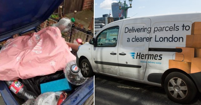 Parcel left in a bin by a Hermes delivery driver (left) and a Hermes delivery van