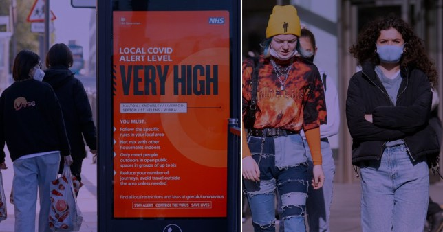A group of people walk either side of a sign that reads 'Local Covid Alert Level: VERY HIGH'