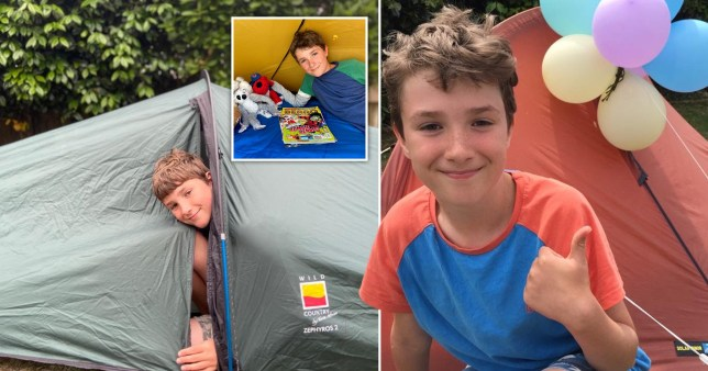 Boy sleeps in tent for months in memory of friends
