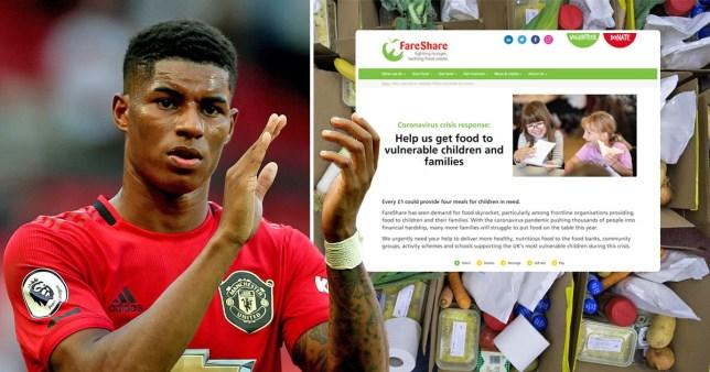 Composite image Marcus Rashford and FareShare charity