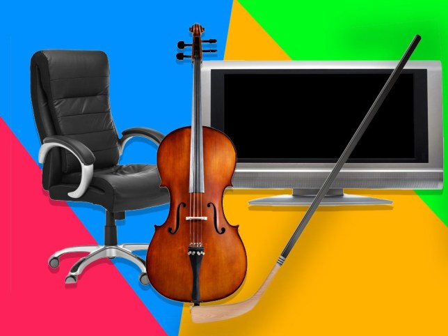 photos of a desk chair, a cello, an old hockey stick and an older model flat screen tv on a colourful background