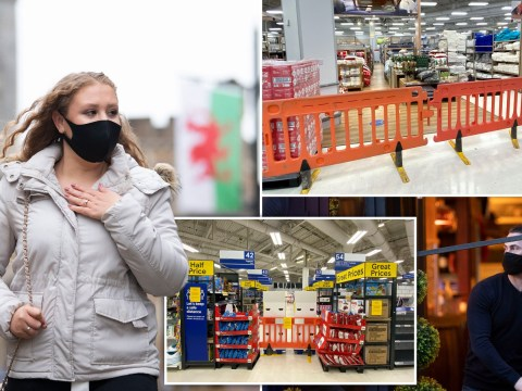 'Non-essential' shop aisles blocked off as Wales plunged into 17-day lockdown