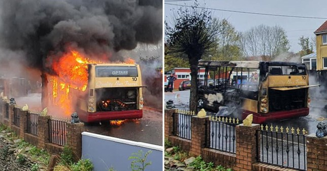 A bus burst into flames while it was driving up a hill in Abercarn, Wales. There were no passengers on the bus and the bus driver got off 'just in time'.