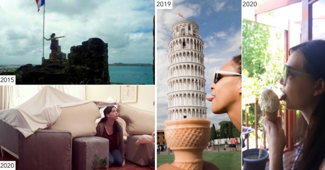 Woman recreating travel shots at home