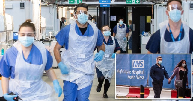 NHS staff wearing masks and visors running and shot of couple walking outside NHS Nightingale Hospital North West