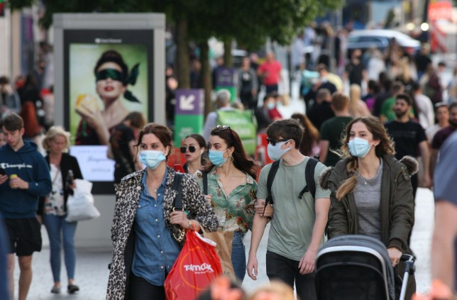 Shoppers in Liverpool city centre on Saturday. Coronavirus local lockdown, Liverpool