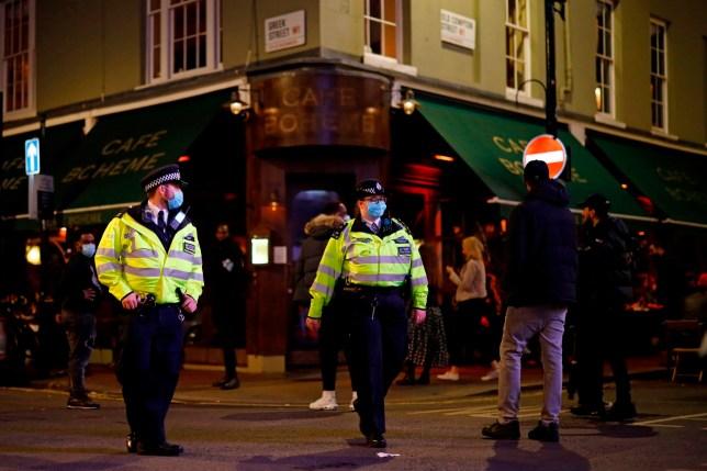 Police patrol in Soho, in central London on September 24, 2020.