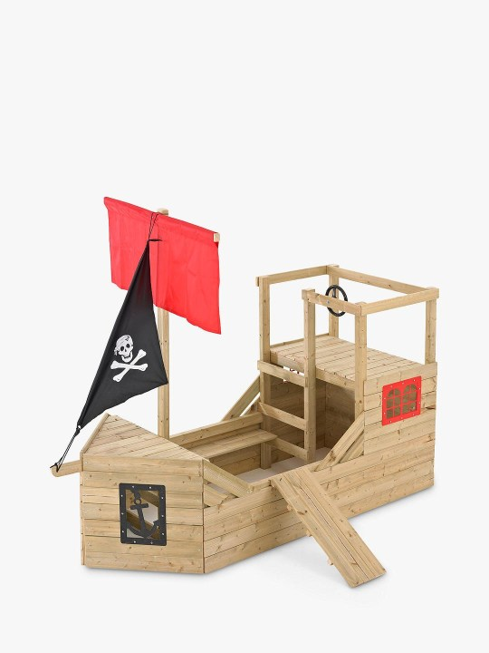 Children's play pirate ship with a red sail
