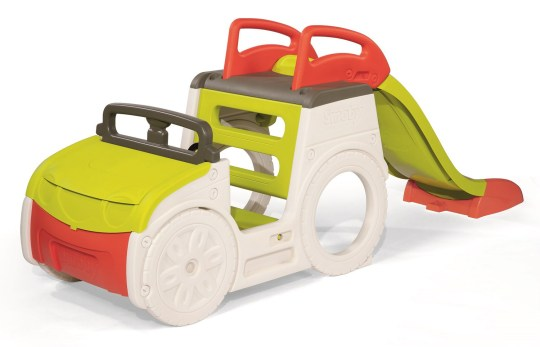 Green and orange toy car with slide