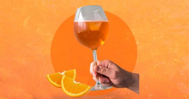 glass of orange wine