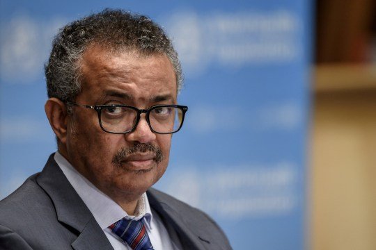 FILE PHOTO: World Health Organization (WHO) Director-General Tedros Adhanom Ghebreyesus attends a news conference organized by Geneva Association of United Nations Correspondents (ACANU) amid the COVID-19 outbreak, caused by the novel coronavirus, at the WHO headquarters in Geneva Switzerland July 3, 2020. Fabrice Coffrini/Pool via REUTERS/File Photo/File Photo