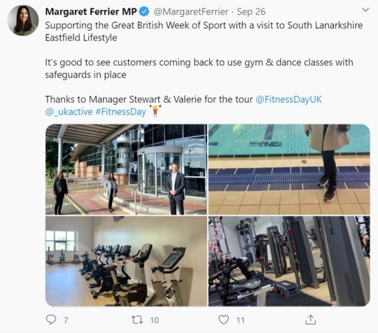 SNP MP Margaret Ferrier, who visited a number of businesses in her constituency town of Rutherglen, near Glasgow, right after she went for a coronavirus test with mild symptoms - In a tweet she says she visited a leisure centre/gym on the day she went for her test