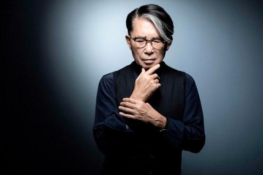 Japanese-French fashion designer Kenzo Takada posing during a photo session in Paris.