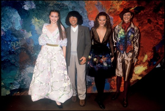 The fashion designer Kenzo Takada and models - Kenzo ready to wear fashion show fall winter 1993 collections.
