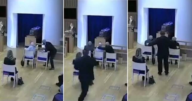 Son told off for moving chair to comfort heartbroken mother during father's funeral Pics: Milton Keynes Community Hub/Facebook