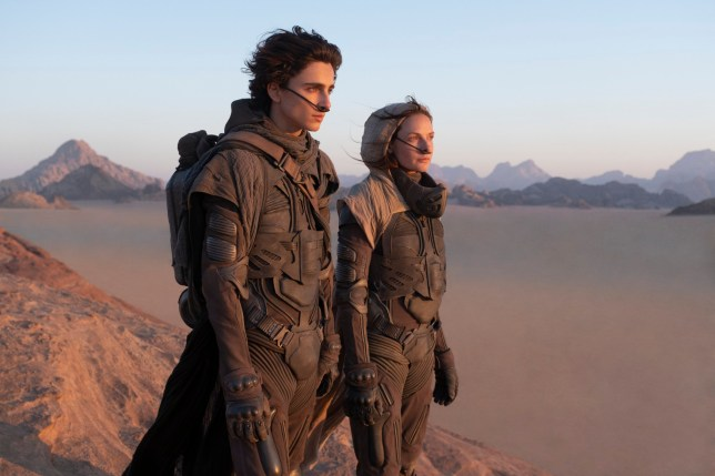 Timothee Chalamet and Rebecca Ferguson in a scene from Dune