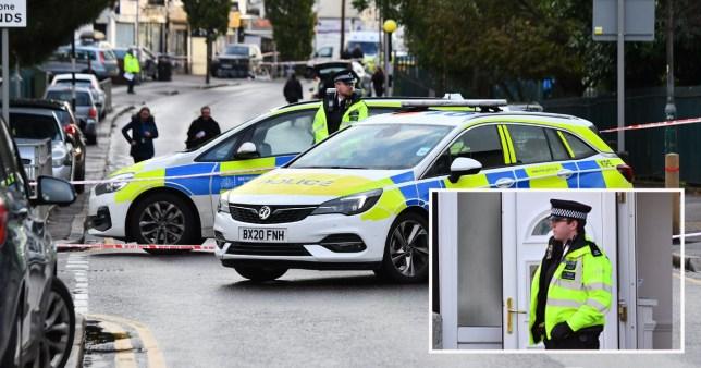Police at the scene in Dagenham today