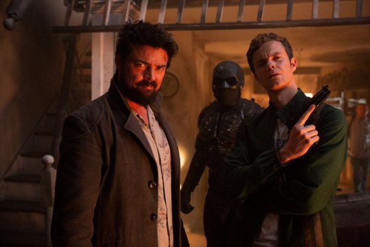 Editorial use only. No book cover usage. Mandatory Credit: Photo by Jasper Savage/Amazon/Kobal/REX (10741977bz) Karl Urban as Billy Butcher, Nathan Mitchell as Black Noir and Jack Quaid as Hughie Campbell 'The Boys' TV Show, Season 2 - 2020 A group of vigilantes set out to take down corrupt superheroes who abuse their superpowers.