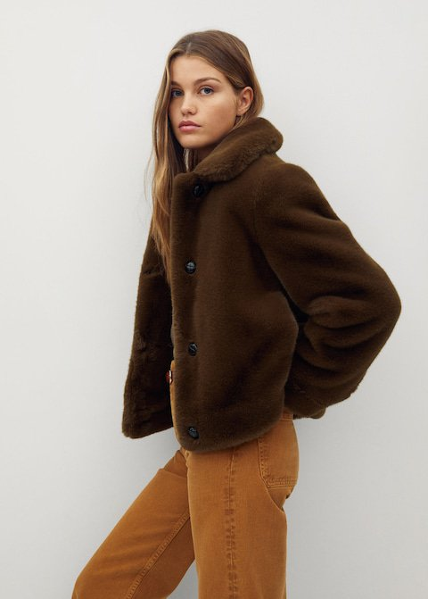 a faux fur coat from mango