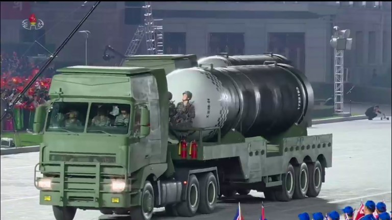 A screen grab taken from a KCNA broadcast of a missile
