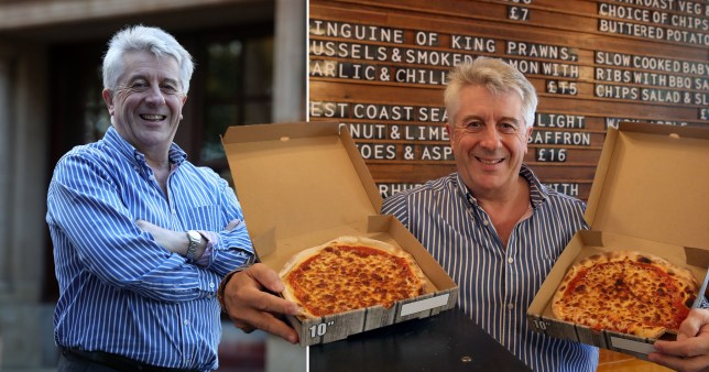 Composition of restaurant owner and photograph of the owner with pizza