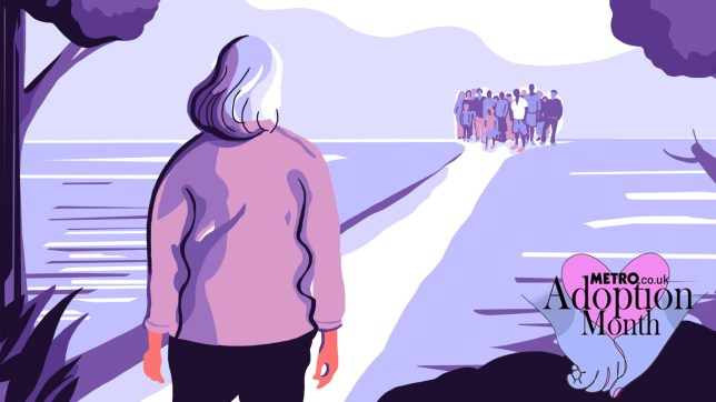 Illustration of a grey haired woman look across a path in water where there's lots of people on the other side, with Adoption Month logo