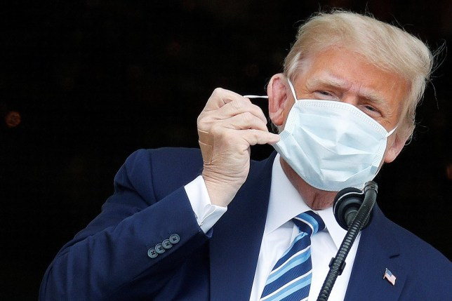 U.S. President Donald Trump wearing a face mask.