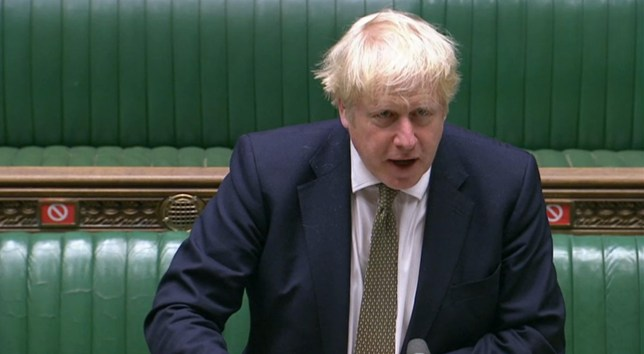 Prime Minister Boris Johnson making a statement in the House of Commons