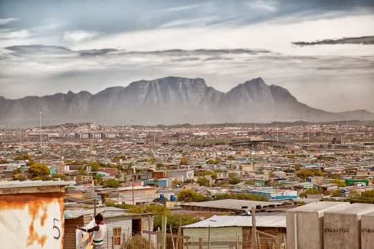 D11X21 Cape Town, South Africa. Table Mountain with khayelitsha Township