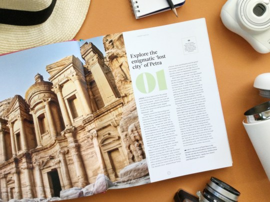 Lonely Planet Ultimate Travel List, open on page about Petra