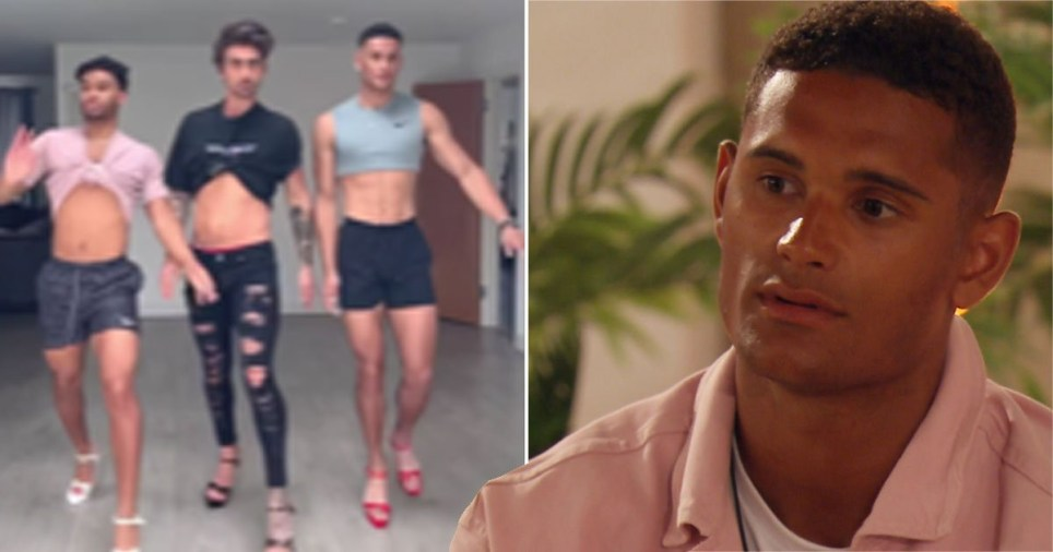 Love Island Danny Williams, Jordan Hames and Christopher Taylor in heels pictured alongside Danny Williams in Love Island villa