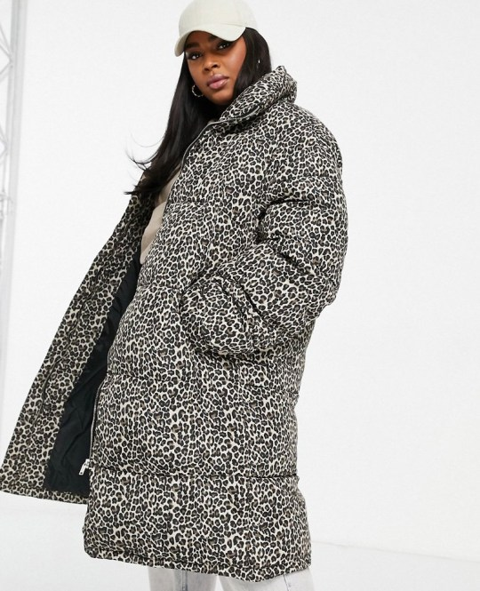 Sixth June Plus oversized puffer jacket in leopard print with faux fur hood (Picture: Asos)