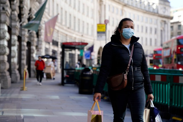 A shopper wearing a face mask on Regent Street in Central London.