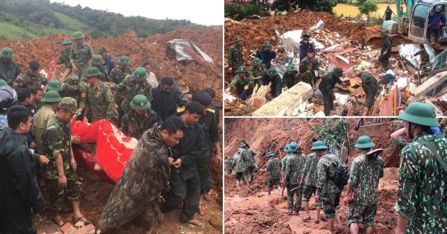 Un glissement de terrain a englouti une caserne de l'armée dans le centre du Vietnam, tuant 11 soldats