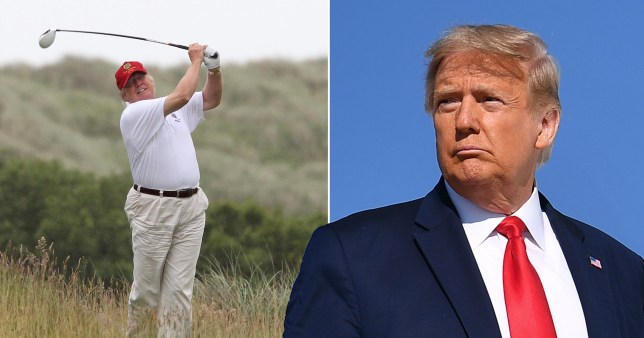 Donald Trump plays golf at his course in Menie, Scotland.