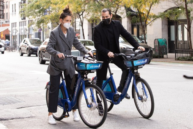 Katie Holmes and Emilio Vitolo Jr. ride Citibikes in NYC