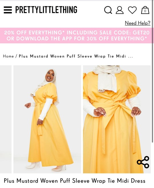 Black woman advertising plus-size yellow dress