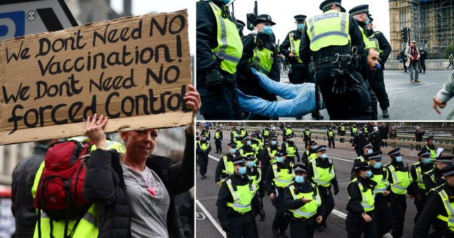 Ten people arrested as police break up 'Stop The New Normal' anti-lockdown protest in London