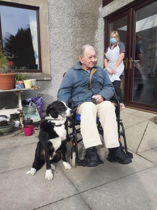 Alan Leek and Cap reuniting at Alan's nursing home in Kendal, Cumbria