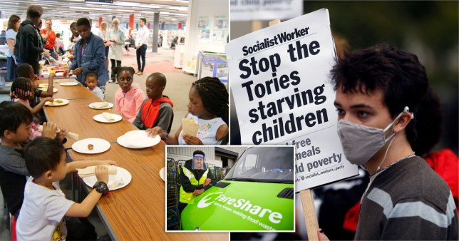 Children eating at a table, in a composition image with Marcus Rashford and a protester demanding: 'Stop the Tories starving children'.