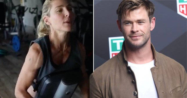 Chris Hemworth pictured alongside wife Elsa Pataky working out