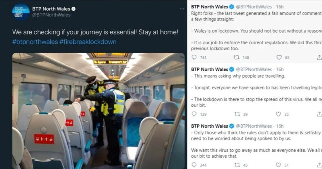A Welsh police force has come under fire for tweeting a photo of spot checks on train passengers during the country's 17-day firebreak lockdown.