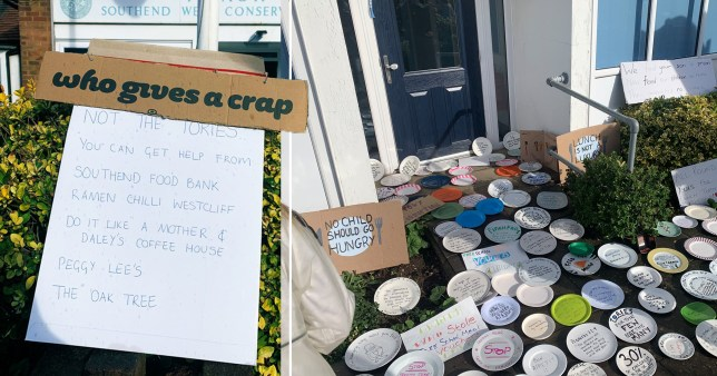 People protested that their MP, Sir David Amess for Southend West, voted against free school meals for children over the holiday with empty plates left outside the local Tory HQ.