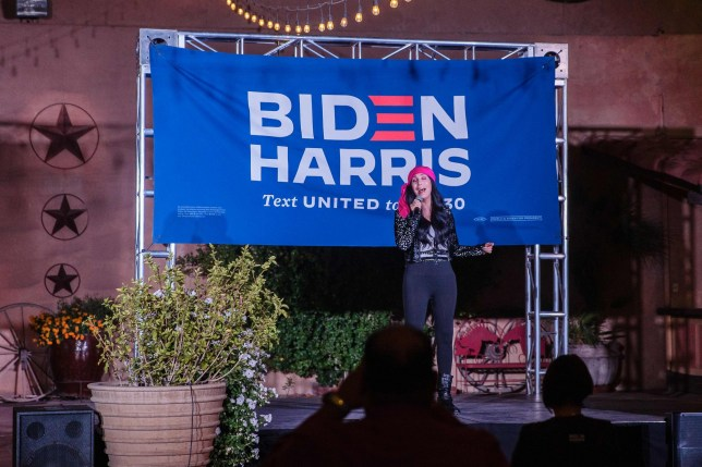 US singer-actress Cher performs during a campaign rally for Democratic Presidential candidate and former US Vice President Joe Biden in Phoenix, Arizona on October 25, 2020. (Photo by ARIANA DREHSLER / AFP) (Photo by ARIANA DREHSLER/AFP via Getty Images)