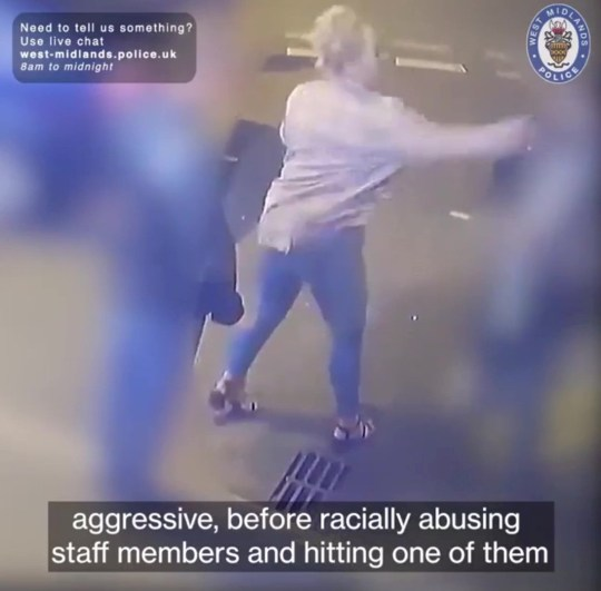 Video grab from CCTV footage of a woman wanted by police for allegedly verbally abusing and assaulting a taxi driver over payment at a taxi rank in Ablewell Street, Walsall on August 31.