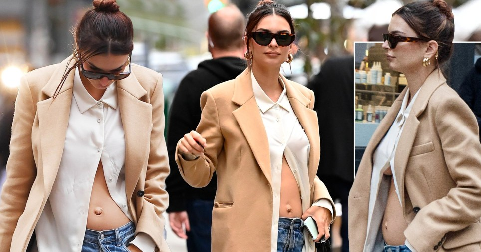 Emily Ratajkowski casually shows off her new baby bump